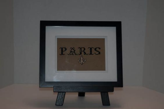 """Cross Stitch """"Paris"""" Sign, Matted and Framed. $49.95, via Etsy."""