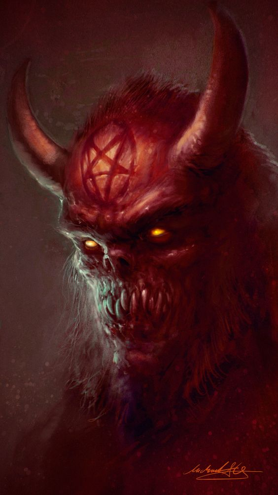 Welcome To Hell by MitchGrave demon devil horns monster beast creature animal | Create your own roleplaying game material w/ RPG Bard: www.rpgbard.com | Writing inspiration for Dungeons and Dragons DND D&D Pathfinder PFRPG Warhammer 40k Star Wars Shadowrun Call of Cthulhu Lord of the Rings LoTR + d20 fantasy science fiction scifi horror design | Not Trusty Sword art: click artwork for source: