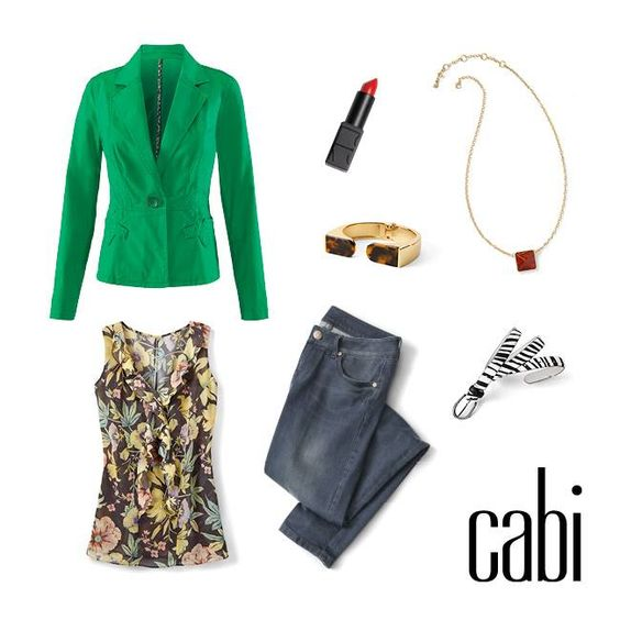 Go bold with spring's Verde Jacket paired back to fall's Ruffle Tank and Slim Boyfriend jeans.  Jeanettemurphey.cabionline.com  My website is open 24/7 for shopping pleasure.