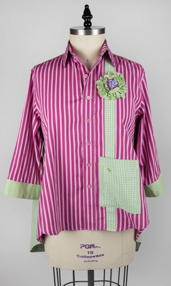 "From Paganoonoo.com. This is the front of a ""Patti"" garment made using a Paganoonoo upcycle sewing pattern:"