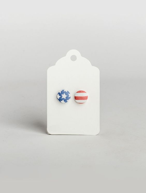 US Flag Button Earrings from Edge of Urge
