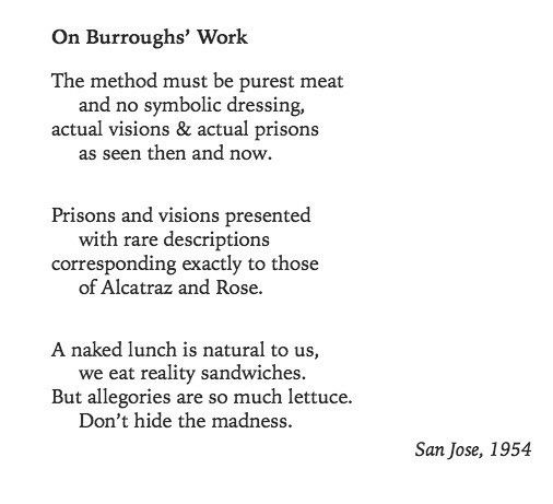 Allen Ginsberg On Burroughs Work Collected Poems 1947