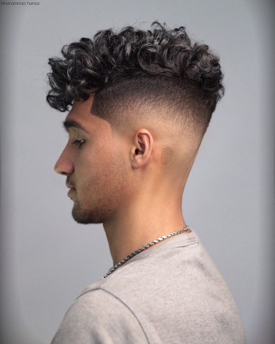 long top short sides curly haircuts for men