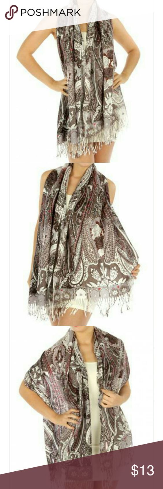 🆕Pashmina Style Scarf/Shawl Gorgeous woven scarf can also be used as a shawl. Features a Paisley floral print and fringed hems.   Acrylic  Size 28x78 inches Accessories Scarves & Wraps