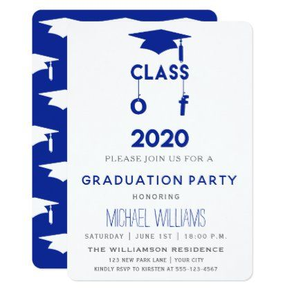 Class Of 2020 Blue Graduation Party Invitation Zazzle Com