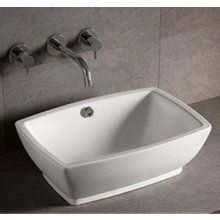 """View the Whitehaus WHKN1065 Isabella 21 5/8"""" Rectangular Porcelain Vessel Bathroom Sink with Overflow at FaucetDirect.com."""