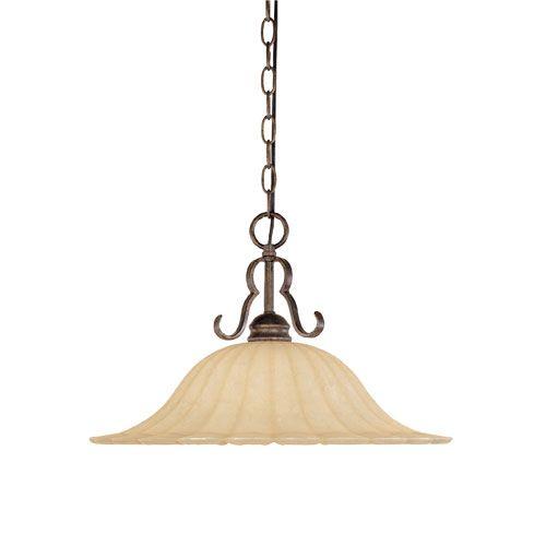 Radford Forged Sienna One-Light Pendant with Warm Amber Glaze Glass