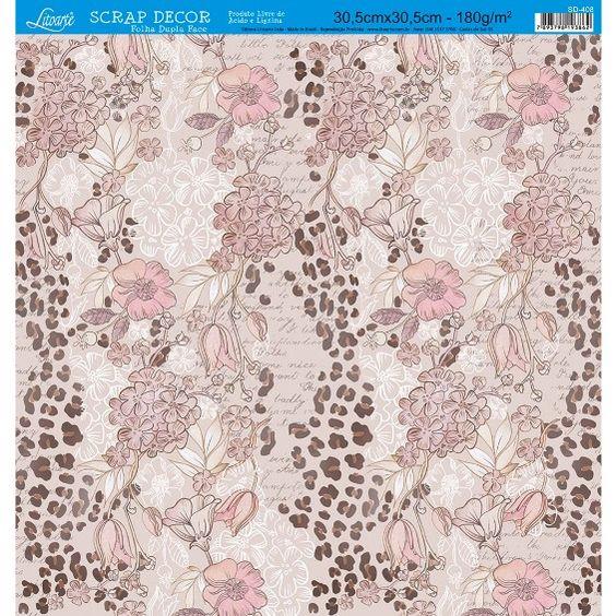 Página para Scrapbook Dupla Face Litoarte 30,5 x 30,5 cm - Modelo SD-408 Flores e Estampa de Onça - CasaDaArte