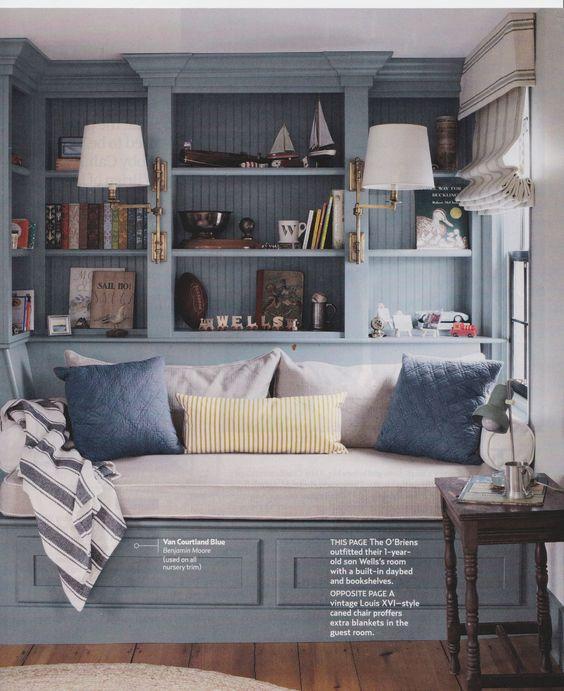 Bedroom Bookshelves Bedroom Colors Benjamin Moore Peppa Pig Bedroom Accessories Black Glitter Wallpaper Bedroom: Built In Day Bed And Bookshelves. Benjamin Moore Van