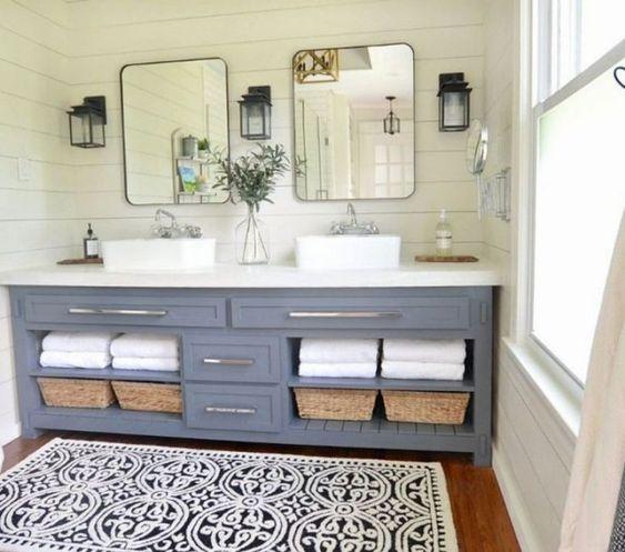 48 Fantastic Bathroom Countertop Ideas Look Elegant Design Bathroom Vanity Decor Bathroom Remodel Master Farmhouse Master Bathroom