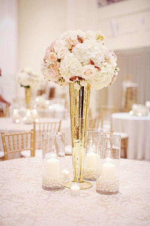 Mercury gold tall vase wedding centerpiece quot clear