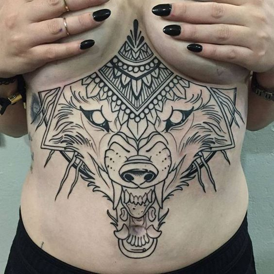 Wolf Sternum Tattoo Stomach Tattoos Women Belly Tattoos Stomach Tattoos