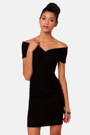 Meant to Be Off-the-Shoulder Black Dress  Sexy Pump and Sleeve