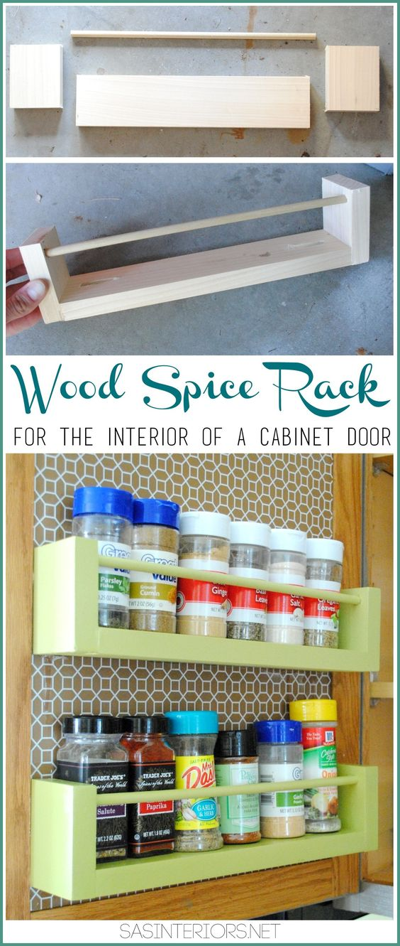 Wooden Spice Rack Storage Racks And Diy Wood On Pinterest