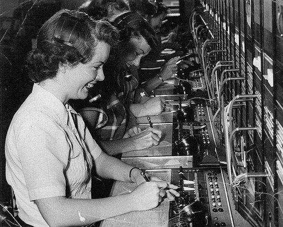 """In 1952, Mary Cullen, a 25-year-old telephone operator with the Southern New England Telephone Company, received the """"Voice With a Smile"""" award, given to operators for superior public service and demeanor. The award came with a distinctive white headset, which, she said, allowed her to stand out and made her feel very special.:"""
