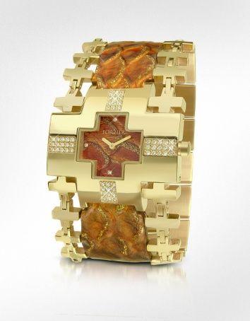 Forzieri Nefertiti - Gold Reptile Stamped Leather Band Dress Watch