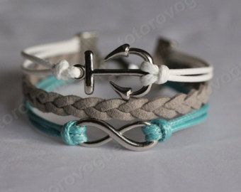 Brazalete plateado HQ infinito ancla pulsera hecha a mano blanco menta con regalo de cadena gris tejido a mano para novia, BFF GF