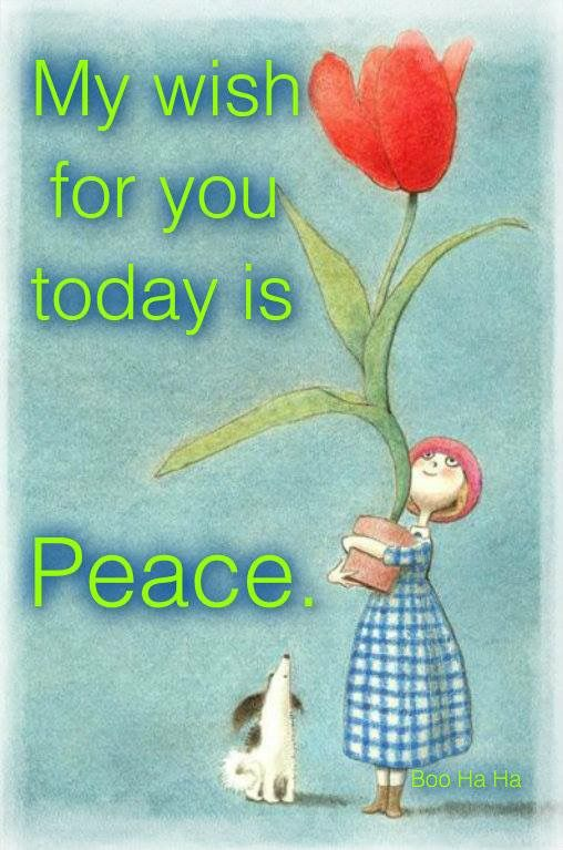 My wish for you today is Peace.: