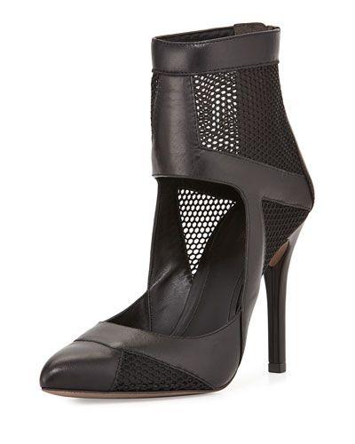 Pour la Victoire Zoia Mesh Panel Bootie, Black - $206 (save 25%) #neimanmarcus #pourlavictoire #shoes #bootie