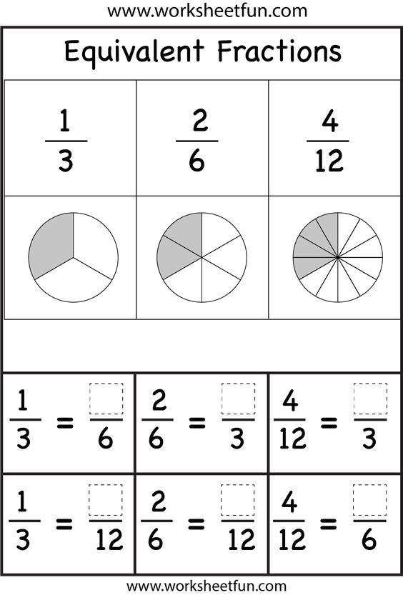 math worksheet : equivalent fractions worksheets  printable worksheets  pinterest  : Equivalent Fractions Worksheet Grade 3