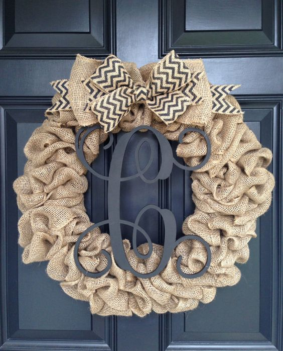 Burlap Wreath with Chevron Bow and Vine Monogram by trulyaDOORable