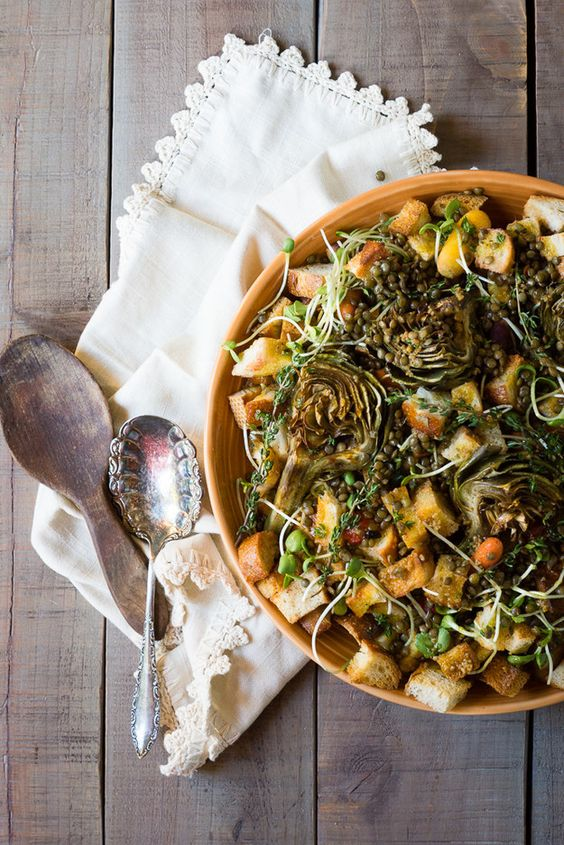 ... Italian Bread Salad with roasted artichokes, lentils and a roasted