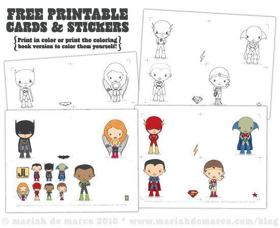 Free Cute Cartoon Superhero Printable Cards and Stickers