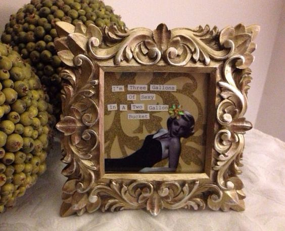 4x4 retro vintage pinup in ornate gold frame.  by Tinplatecardco, $15.00