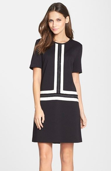 black and white colorblock chain detail shift dress