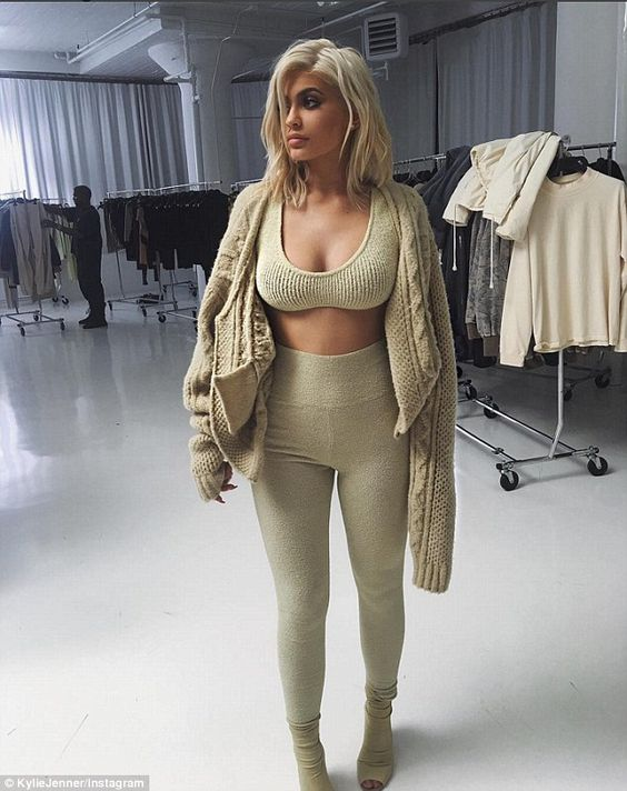 Plan B? Kylie wore a knit crop top and leggings in a 'late night fitting' ahead of the Yeezy show, in this photo she shared on Instagram Wednesday: