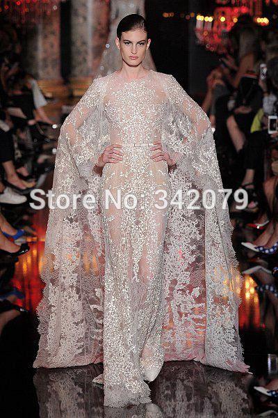 Goedkope Ph11219 witte kanten jurk parels pailletten een lange kant cape elie saab 2015 couture dubai kaftan abaya in dubai, koop Kwaliteit ' s avonds jurken rechtstreeks van Leveranciers van China:   Van harte welkom om onze winkel!meerdubai abaya kaftan in dubaiPhotoes van hier: &