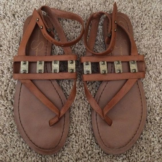 JESSICA SIMPSON SANDALS Tan Jessica Simpson sandals with bronze details and ankle strap Jessica Simpson Shoes Sandals