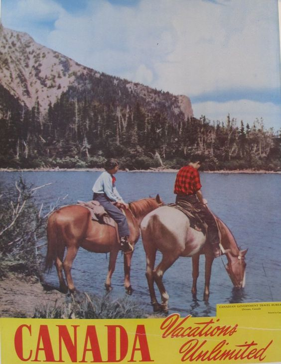 1950s Original Vintage Travel Poster, Canada Vacations Unlimited #1950 #1950s…