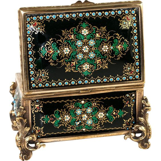 "Antique French Kiln-Fired Enamel Jewelry Casket, Box, Raised Enamel ""Jewels""."