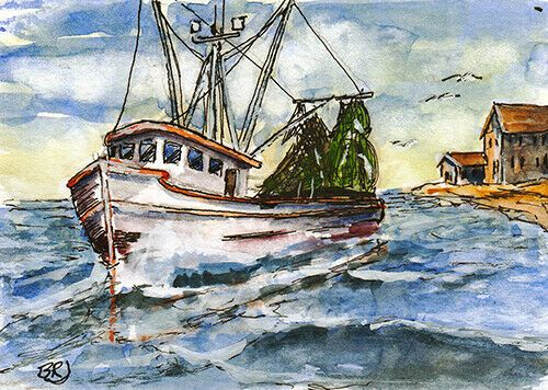 Aceo Original Watercolor Line Wash Along The Gulf Coast Boat
