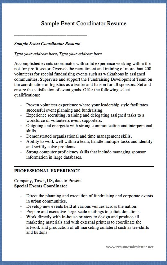 Sample Event Coordinator Resume Sample Event Coordinator Resume Type