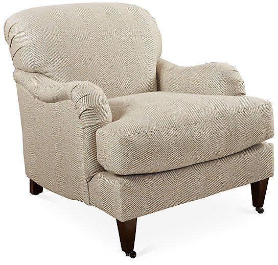 Robin Bruce Brampton Club Chair Beige Herringbone Club Chairs