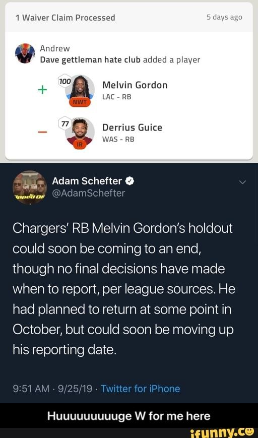 Melvin Gordon Chargers Rb Melvin Gordon S Holdout Could Soon Be Coming To An End Though No Final Decisions Have Made When To Report Per League Sources He Ha Funny Sports Memes
