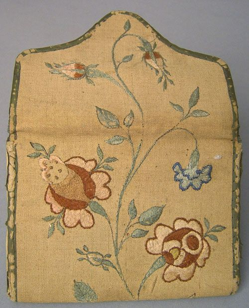 "Pennsylvania silk on linen pocketbook wrought by Sarah Mendenhall, late 18th c., with initials and trailing floral vine, 4 1/2"" w."