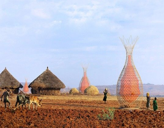 Italian designer Arturo Vittori has unveiled the WarkaWater Tower, a revoluntionary new way to collect clean drinking water in Ethiopia and other parts of Africa from condensation in the air. The artist was inspired by a recent trip to a remote village in northeastern Ethiopia where water collection is often a dangerous and incredibly time-consuming process.: