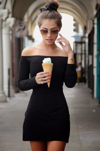 Vestidos Femininos Preto Ombro A Ombro Curto Básico - R$ 79,90: