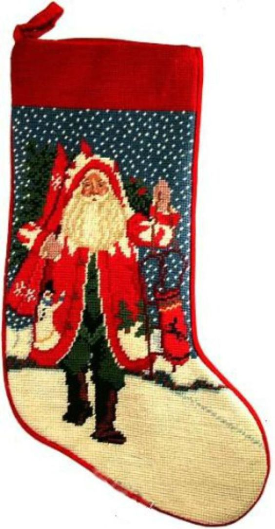 For Holiday Decorating Quickies Try Readymade Needlepoint. Readymade needlepoint Santa stocking by Lynn Haney.