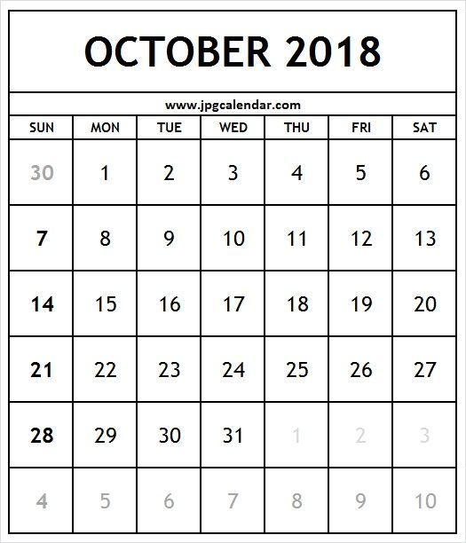 Monthly October 2018 Calendar Portrait Printable Free Calendar