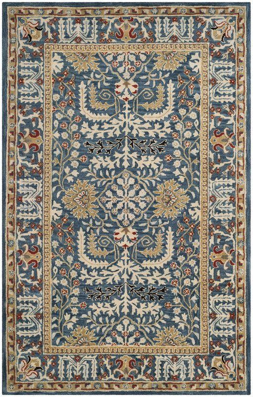 Genemuiden Hand Tufted Dark Blue Area Rug Area Rugs Cheap Rugs On Carpet Persian Inspired Rug