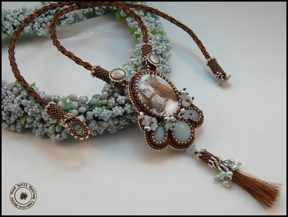 Blues Traveler necklace with horsehair tassel - Good Quill Hunting
