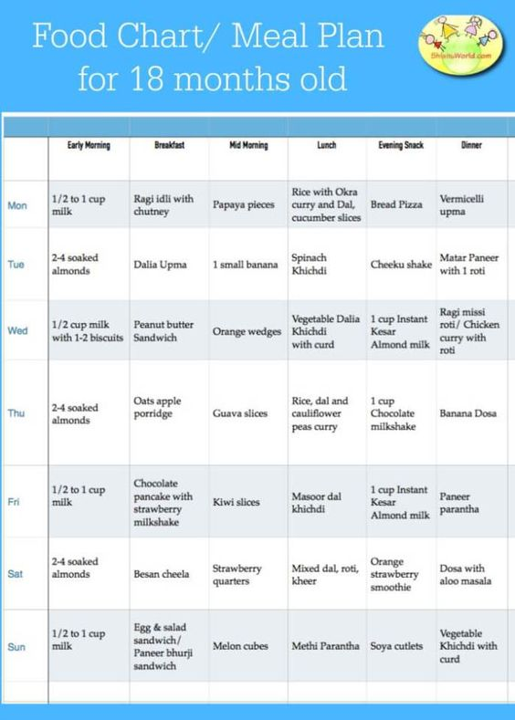 18 Months Toddler Food Chart Monthly Food Charts For