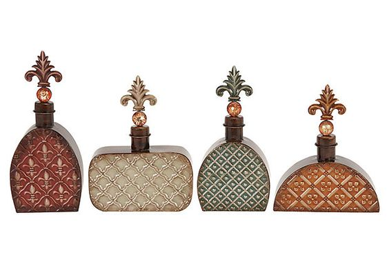 S/4 Metal Bottles w/ Fleur De Lis on OneKingsLane.com - great price