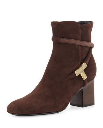 TOM FORD T-Bar Suede 65Mm Bootie, Brown. #tomford #shoes #boots