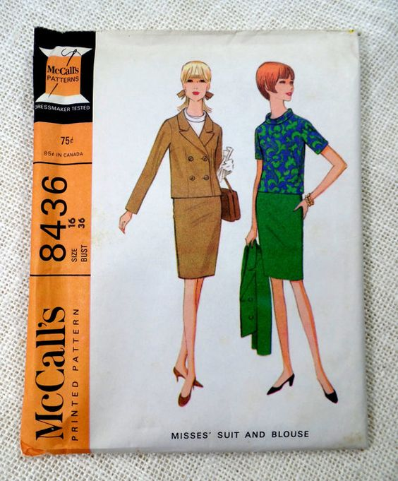 Vintage pattern McCall's 8436 Jackie Kennedy 1960s slim suit pencil skirt roll collar blouse double breasted jacket Bust 36
