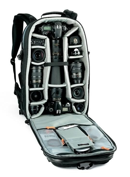 LOWEPRO BACKPACK CAMERA BAG - DIY inspiration. Besides Camera Gear it's a great bag for HAM Radio gear also. #Backpack #VideoProduction #MichiganCreative www.michigancreative.com